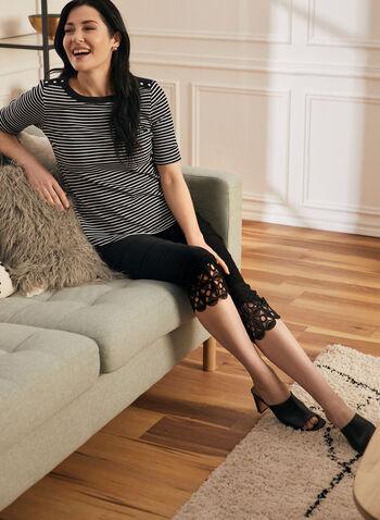 Capri pull-on à ourlet en crochet, Noir,  capri, pull-on, jambe étroite, bengaline, dentelle crochet, printemps été 2020