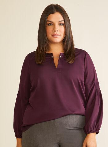 Balloon Sleeve Satin Blouse, Purple,  blouse, balloon sleeves, satin, pearl, fall winter 2020