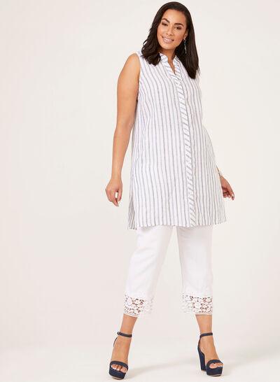 Sleeveless Stripe Print Tunic
