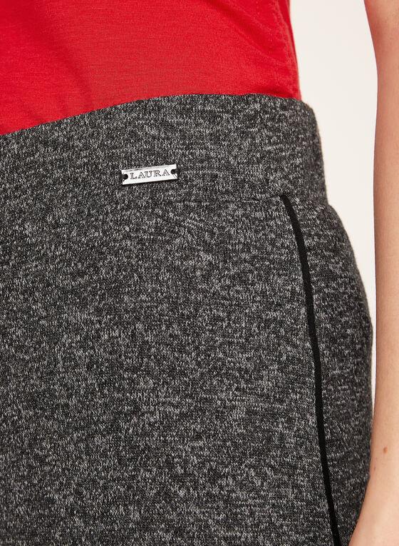 Wide Leg Melange Knit Pants, Grey, hi-res
