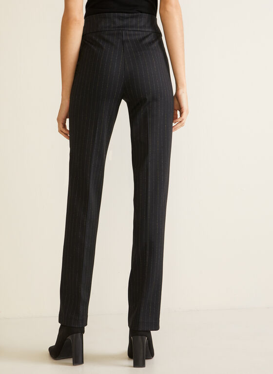 Straight Leg Pull-On Pants, Black