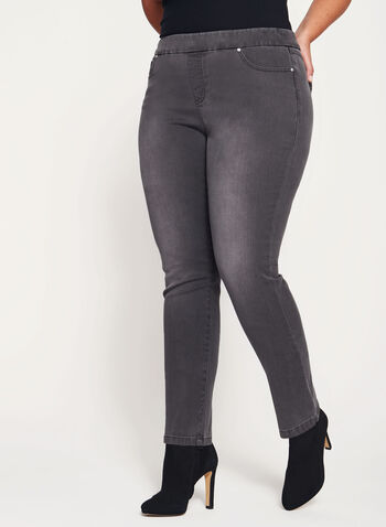 Pull-On Slim Leg Jeans, Grey, hi-res