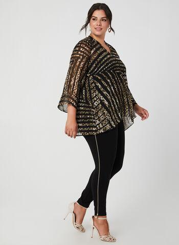 Blouse en mousseline à motif léopard, Noir,  automne hiver 2019, blouse, haut, mousseline, léopard, rayures, motif, imprimé, manches longues, manches kimono, asymétrique