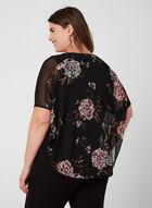 Blouse poncho à imprimé floral, Noir