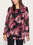 Floral Print Tunic Top, Black, hi-res