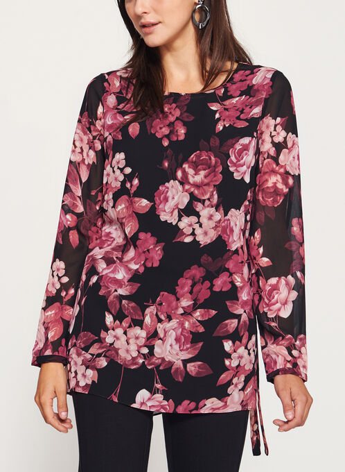 Floral Print Tunic Top, Black, hi-res