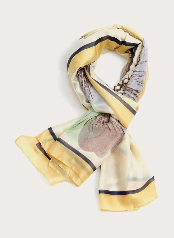 Daisy Print Scarf, Yellow, hi-res