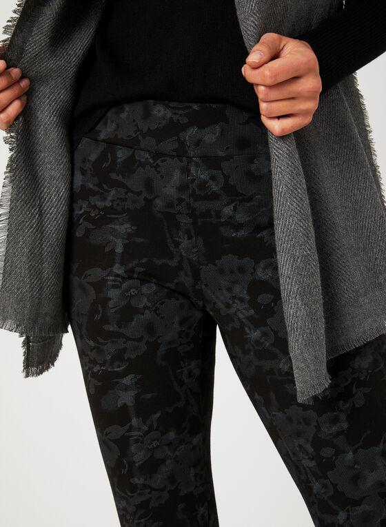 Pantalon pull-on coupe moderne à fleurs, Gris, hi-res