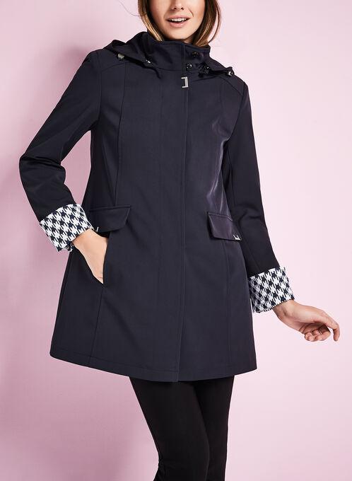 Novelti Stretch Gab A-Line Coat, Blue, hi-res