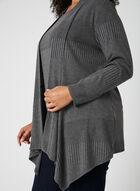 Haut ouvert en tricot côtelé, Gris, hi-res