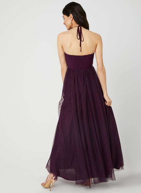 Robe à corsage brodé et jupe en maille filet, Rouge