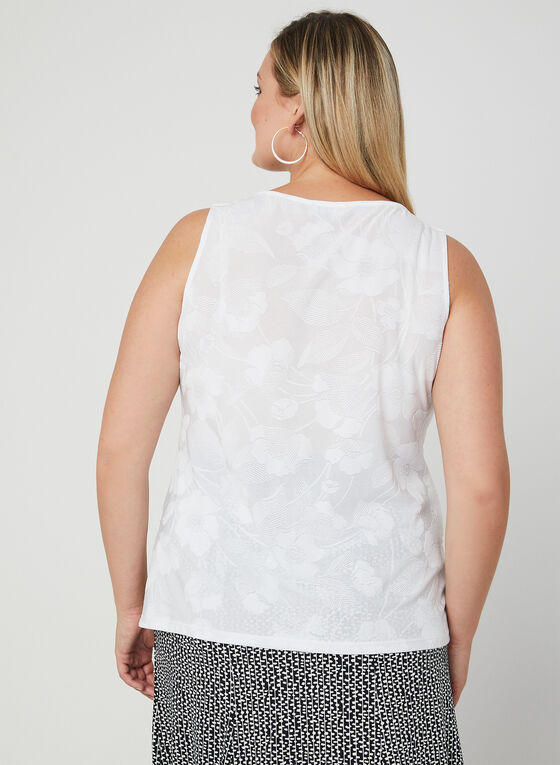 Haut en jacquard à motif floral, Blanc, hi-res