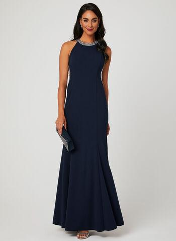 Rhinestone Cleopatra Neck Mermaid Dress, Blue, hi-res