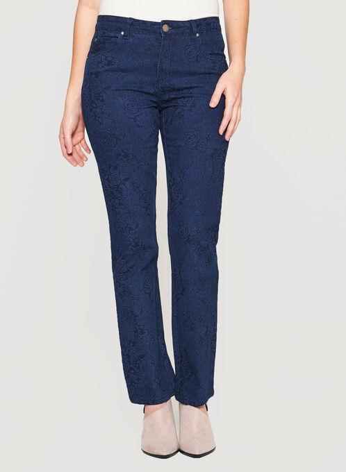 Simon Chang - Printed Signature Fit Straight Leg Jeans, Blue, hi-res