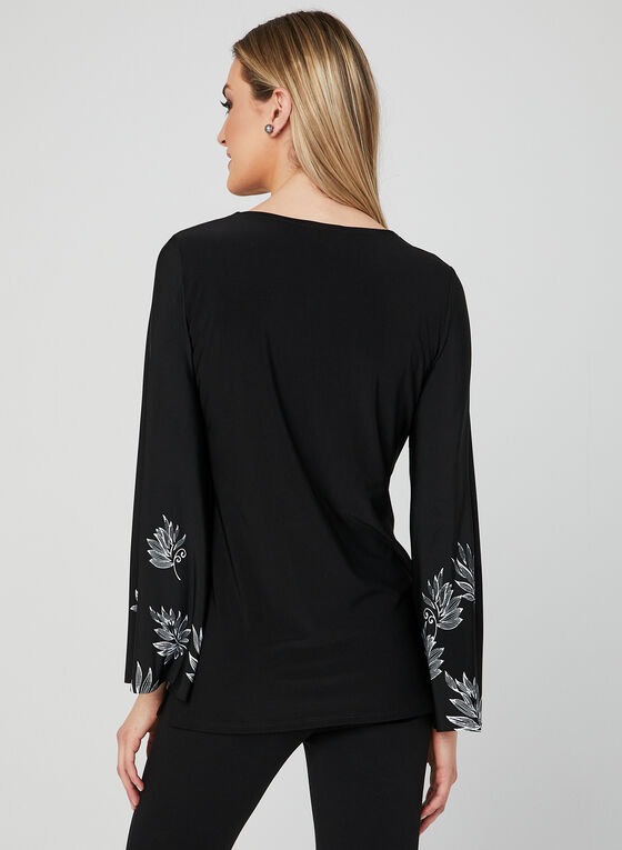 Bell Sleeve Jersey Top, Black