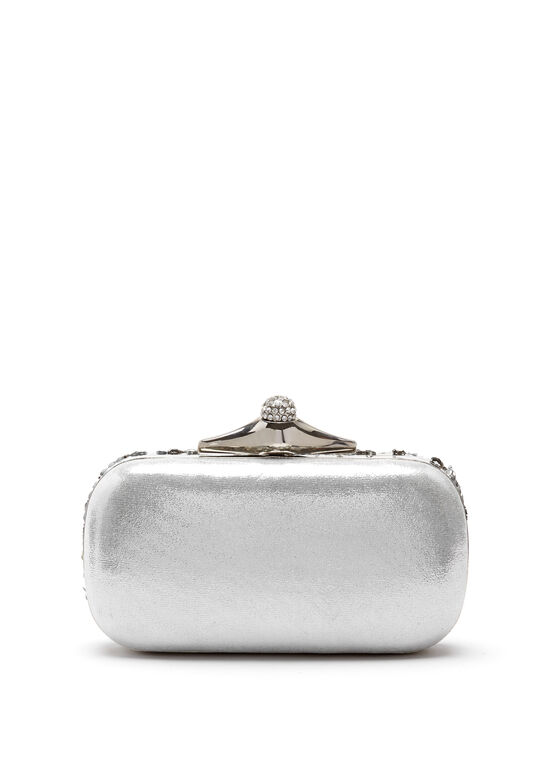 Beaded Sequin Clutch, Silver, hi-res
