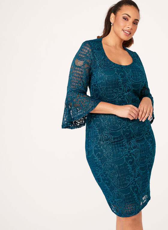 fda243bd21 ... Glitter Bell Sleeve Lace Dress, Blue, hi-res ...