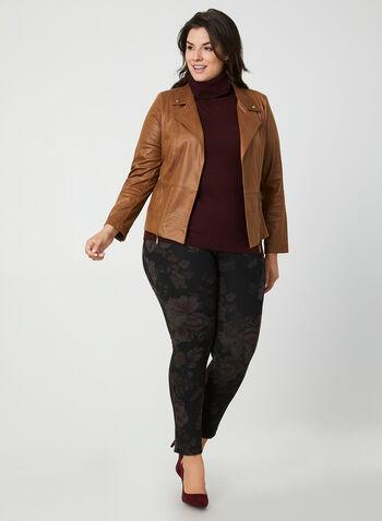 Pantalon coupe moderne à fleurs, Noir, hi-res,  pantalon, pull-on, moderne, feuille, automne hiver 2019