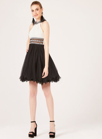 Cleo Neck Fit & Flare Dress, Black, hi-res