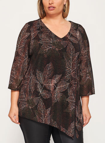 Leaf Print 3/4 Bell Sleeve Top , Green, hi-res