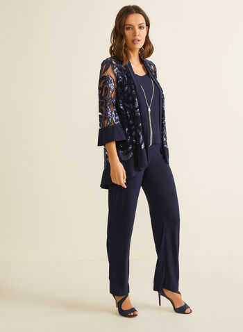 3-Piece Sequin & Jersey Set, Blue,  ensemble, set, evening, top, jacket, pants, jersey, mesh, sequins, 3/4 sleeves, wide leg, pull-on, stretchy, open front, necklace, spring summer 2020