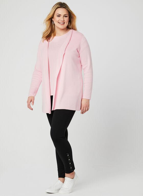 Open Front Knit Cardigan, Pink, hi-res