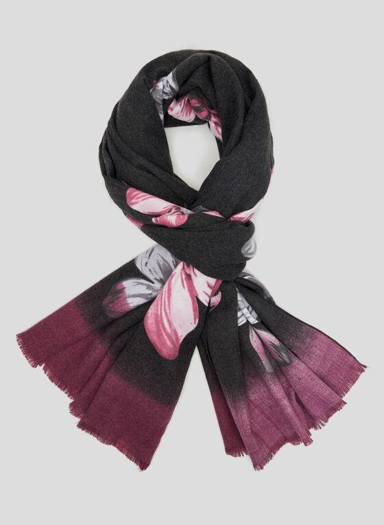 Floral Print Knit Scarf, Purple, hi-res