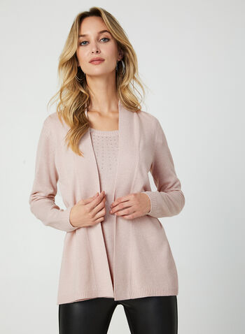 Knit Fooler Cardigan With Tank, Pink, hi-res,  knit, cardigan, fooler top, rhinestones, long sleeves, fall 2019, winter 2019
