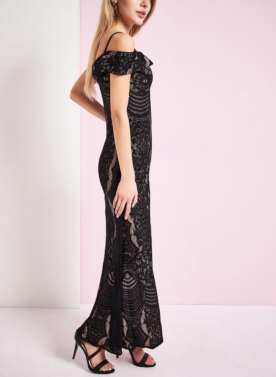 Lace Off Shoulder Gown , Black, hi-res