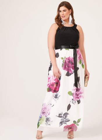 Floral Print Maxi Dress , Black, hi-res