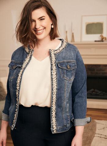 Veste en denim avec tweed et perles , Bleu,  veste, jeans, denim, perles, tweed, printemps été 2021, coupe ouverte