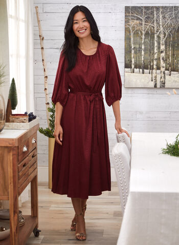 Satin Jacquard Detail Dress, Red,  fall 2021, dress, occasion dress, evening dress, midi dress, scoop neckline, 3/4 sleeves, puffed sleeves, balloon sleeves, sash, waist, belted, fit, flare, cut, pleated, details, long, length, comfy, satin, jacquard, detail, fabric