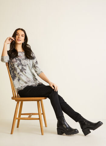 Floral Shirt With Crystals, Red,  fall winter 2020, ¾ sleeves, 3/4 sleeves, lace, crystals, flowers, floral, round neckline