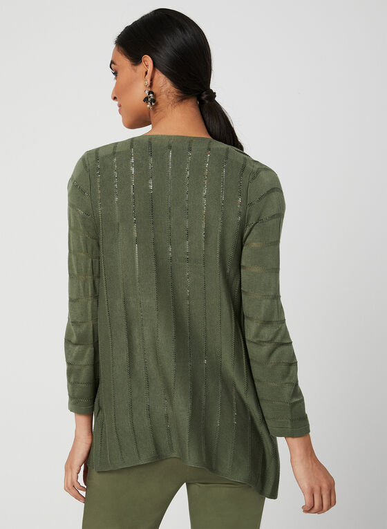 Open Front Knit Cardigan, Green