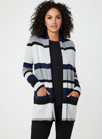 Stripe Print Open Front Cardigan, Blue, hi-res
