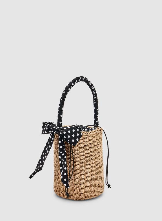 Polka Dot Straw Bucket Bag, Off White, hi-res