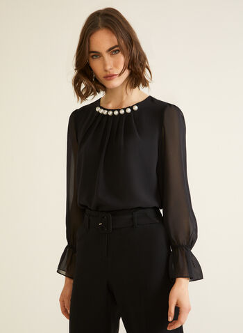 Pearl Detail Smocked Sleeve Blouse, Black,  top, blouse, pearl, smocked, chiffon, fall winter 2020