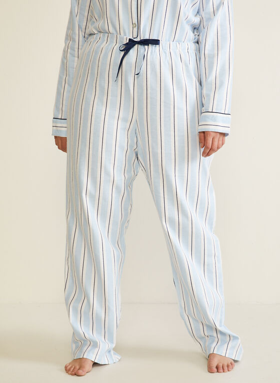 Ensemble pyjama rayé en flanelle, Bleu