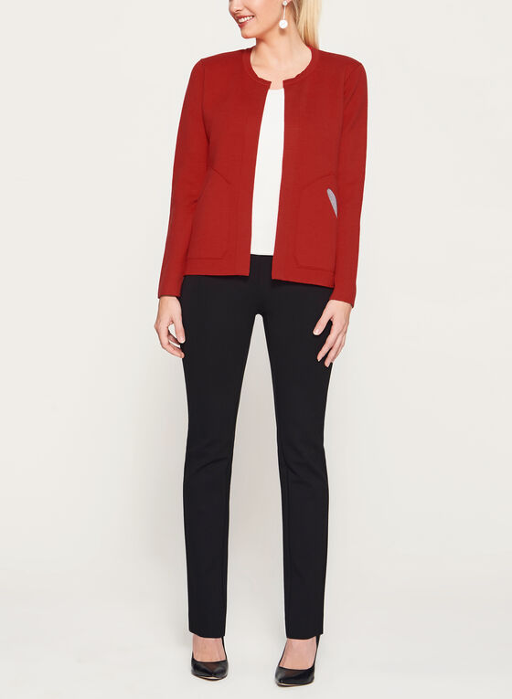 Elena Wang - Open Front Double Knit Cardigan, Red, hi-res