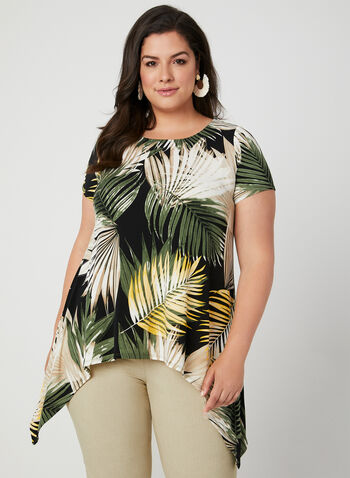 Palm Print Sharkbite Tunic, Black, hi-res,  short sleeves, jersey, scoop neck, leaf print, tropical print, spring 2019, summer 2019