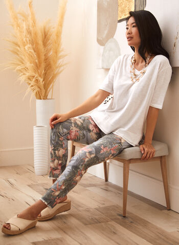 Charlie B - Floral Print Pants, Multi,  spring summer 2021, bottoms, pants, flowery, flowers, made in Canada, mid rise, slim fit, zipper,