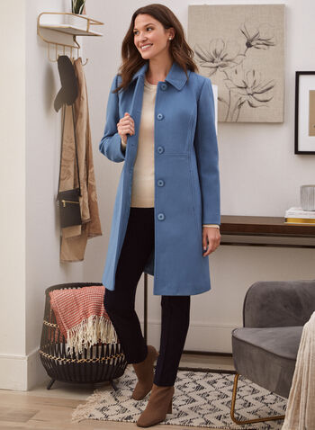 Stretch Faux Wool Structured Coat, Blue,  fall winter 2021, coat, outerwear, structured, wool, faux wool, stretch, princess, shirt collar, button front, long sleeve, button, pockets, satin lining, warm, outdoor