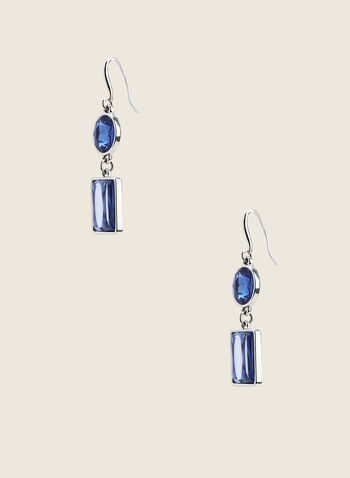 Two-Tiered Stone Earrings , Blue,  earrings, two-tier, oval stones, rectangular stones, Spring Summer 2020