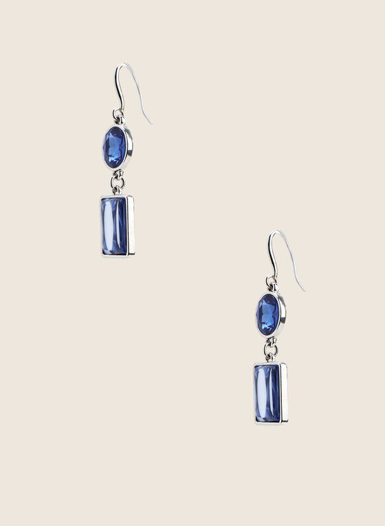 Two-Tiered Stone Earrings , Blue
