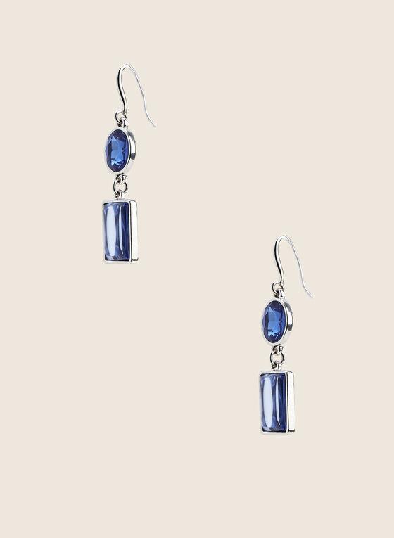 Boucles d'oreilles à pierres facettées, Bleu