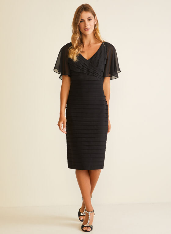 Chiffon Bodice Sheath Dress, Black