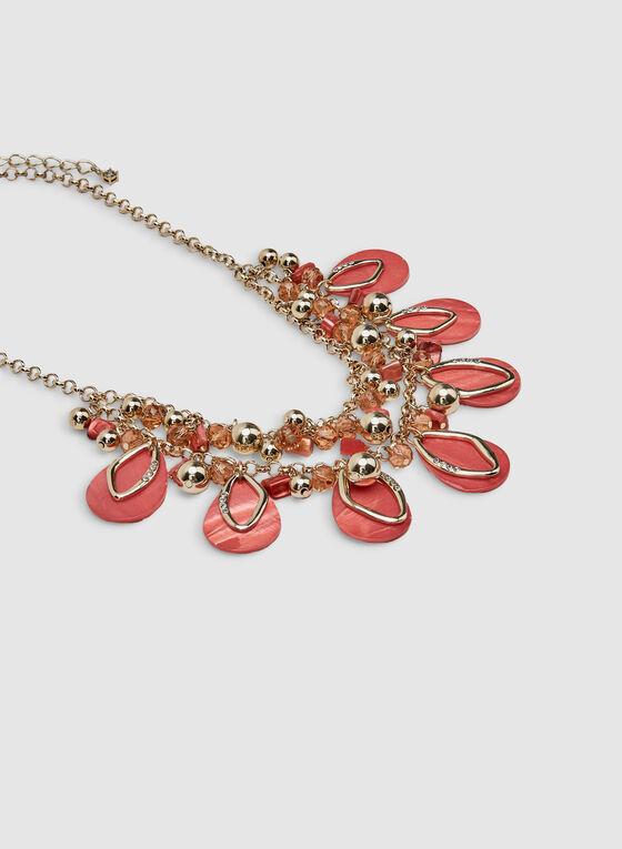 Collier plastron à perles et pierres, Orange, hi-res