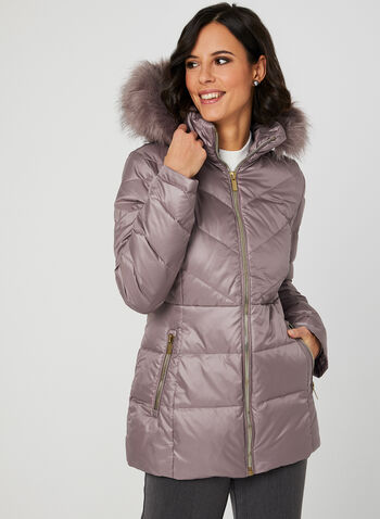 Stand Collar Down Coat, Purple, hi-res