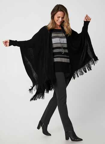 Echo New York - Fringed Pointelle Poncho, Black,  fall winter 2019, knit, fringed hem, pointelle knit, pashmina, ruana