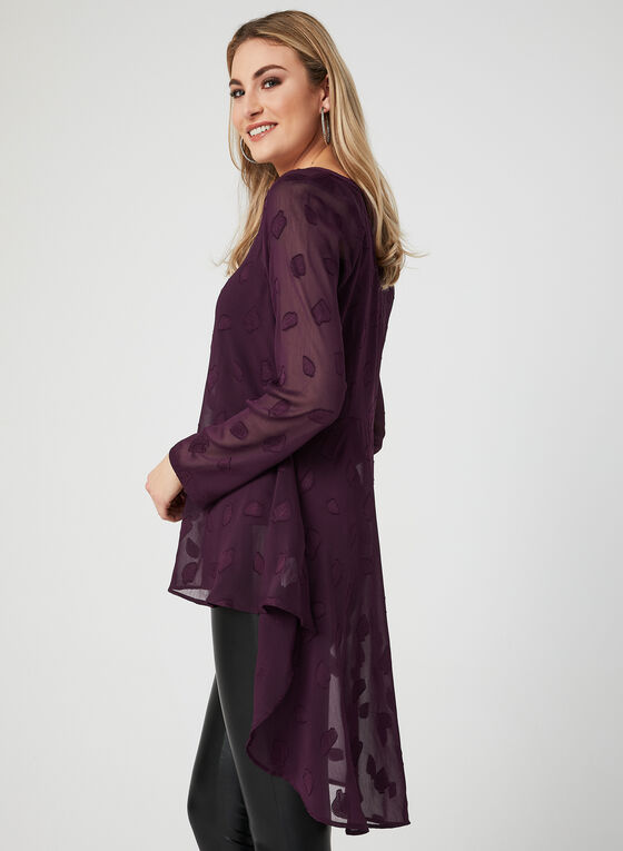 Ness - Leaf Print Blouse, Purple, hi-res